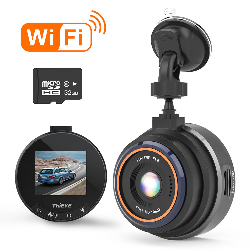 G Sensor Parking Monitor 1.5 LCD Display 170 Super Wide Angle WDR Super Night Vision THIEYE Car Dash Cam Wifi Full HD 1080P Mini Car DVR Dashboard Camera with 32GB SD Card Motion Detection