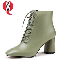 ZVQ genuine leather green booties woman shoes 7cm heels ladies party Winter plush fashion large size 33-43 women ankle boots