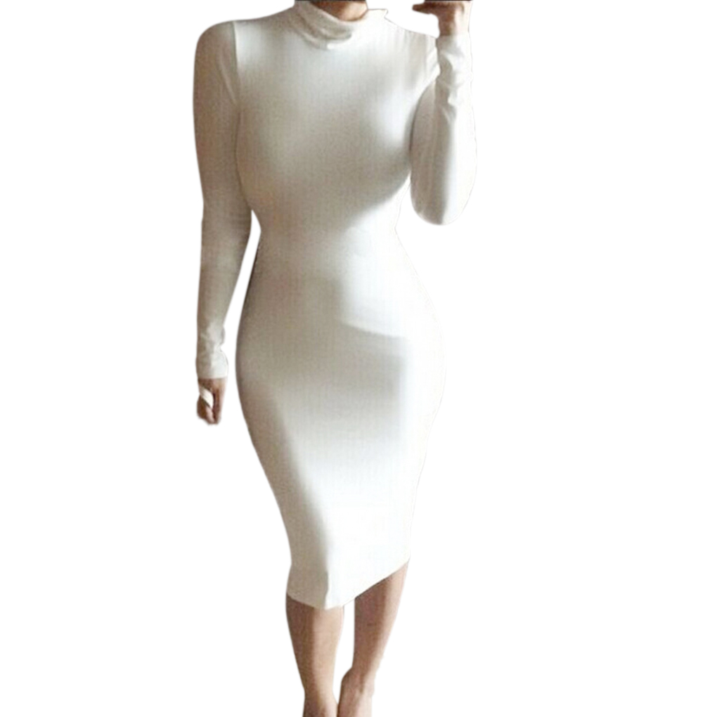 Women 39 s long sleeve slim fit solid color design dress sexy for Long sleeve slim wedding dresses