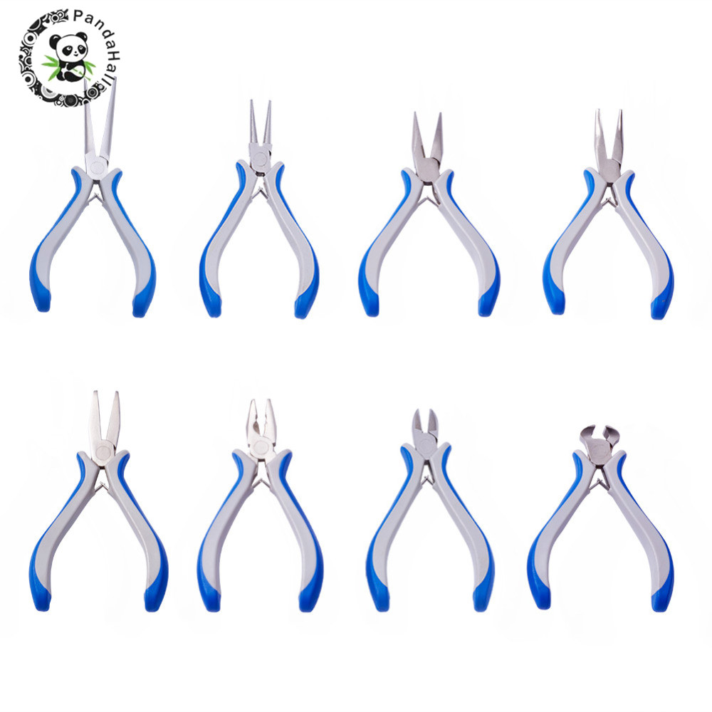 PANDAHALL 8pcs/sets Jewelry Pliers Sets Jewelry Tool For DIY Equipments Making Carbon-Hardened Steel Multi Usage Pliers Beading