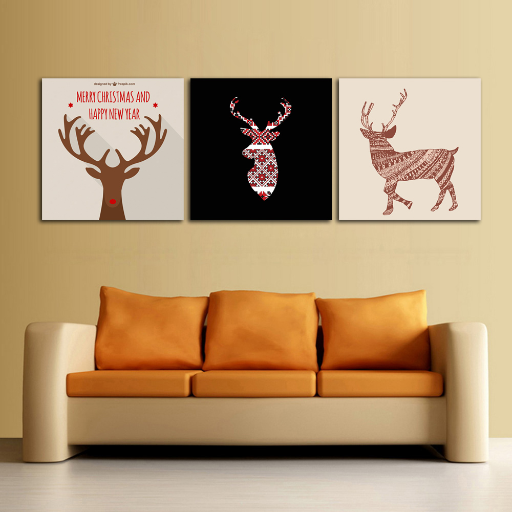 ALMUDENA Unframed Black White Cartoon Deer Wall Art Poster ...