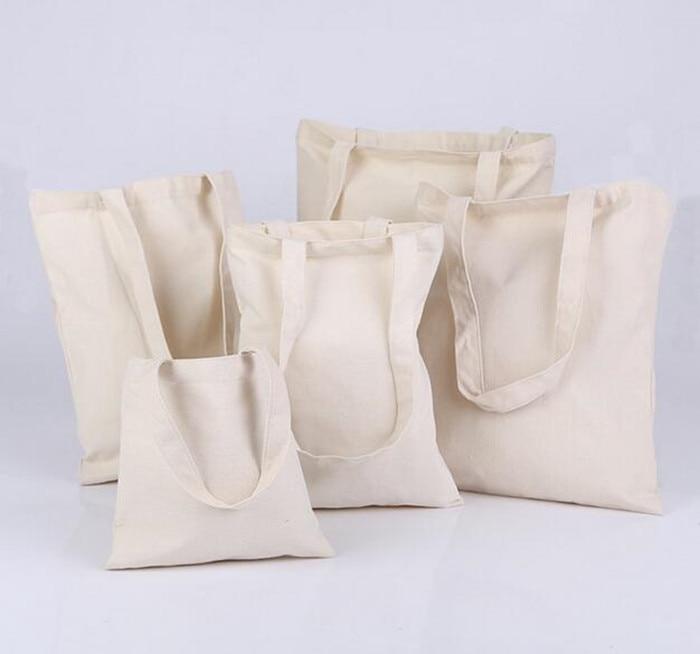 재고 있음 도매 100PCS / LOT 캔버스 환경 선물 가방 Resuable 쇼핑 가방 인쇄 로고 수락