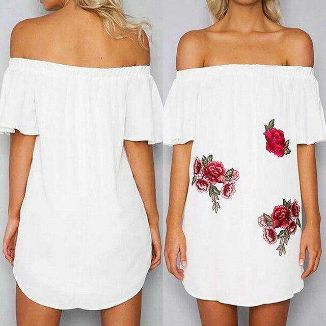 AIEnny 2018 Off Shoulder Women Vintage Summer Floral Mini Dress Short Sleeve