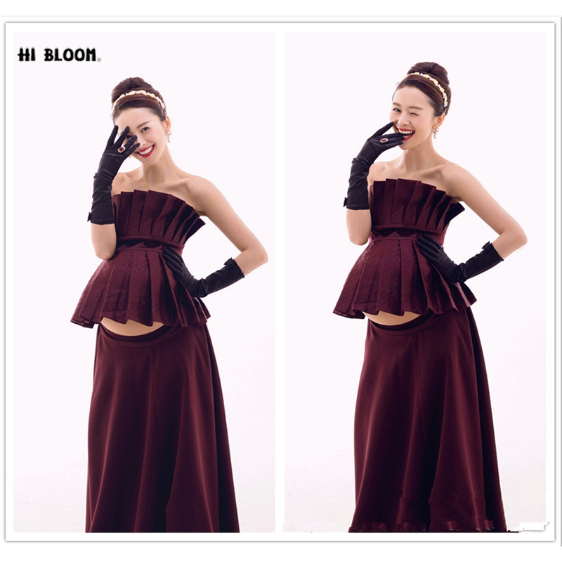 Maternity Photography Props Red Gown Maxi Dress Maternity Gown Pregnant Fancy Photo Shooting Long Pregnant Women Dresses Clothes