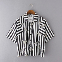 Black And White Striped Blouse Nice Summer Women Short Sleeve Shirts Blouses Fashion Animal Printed Pops Camisetas Mujer BigSize