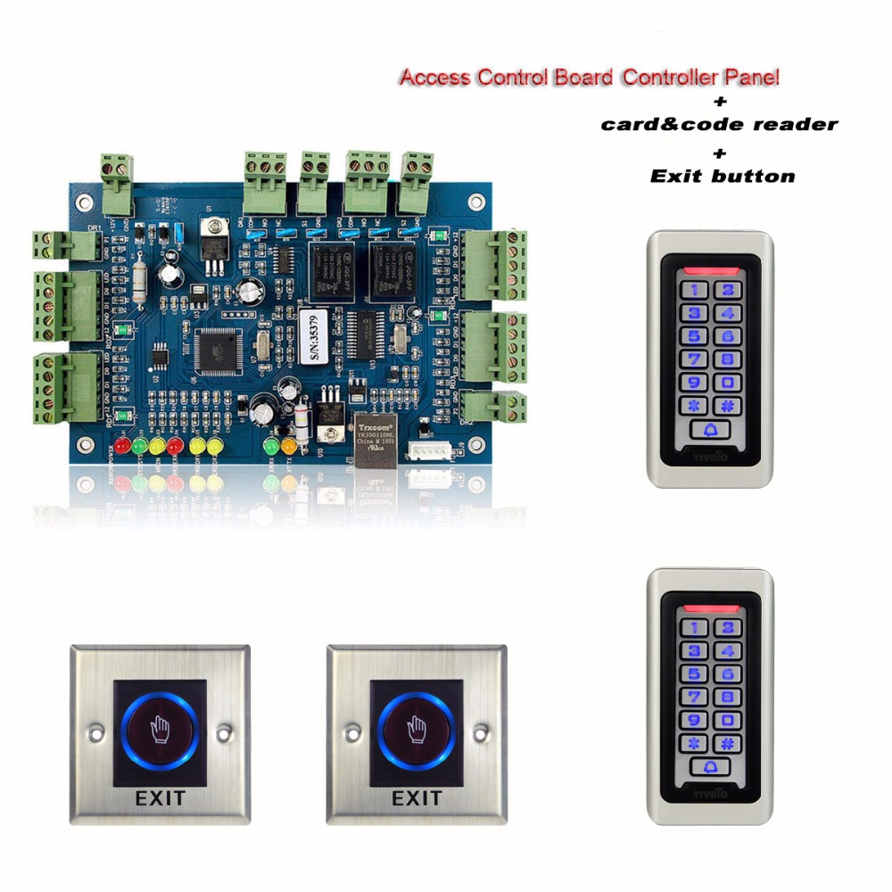 цена TIVDIO Access Control Kit TCP/IP Network Entry Single Access Control Board Controller Panel with Card Reader + Exit Button F9501