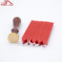 Bright Red Seal Wax Stick With Wick Personal Custom Wooden Stamp With 25mm Size For Wedding