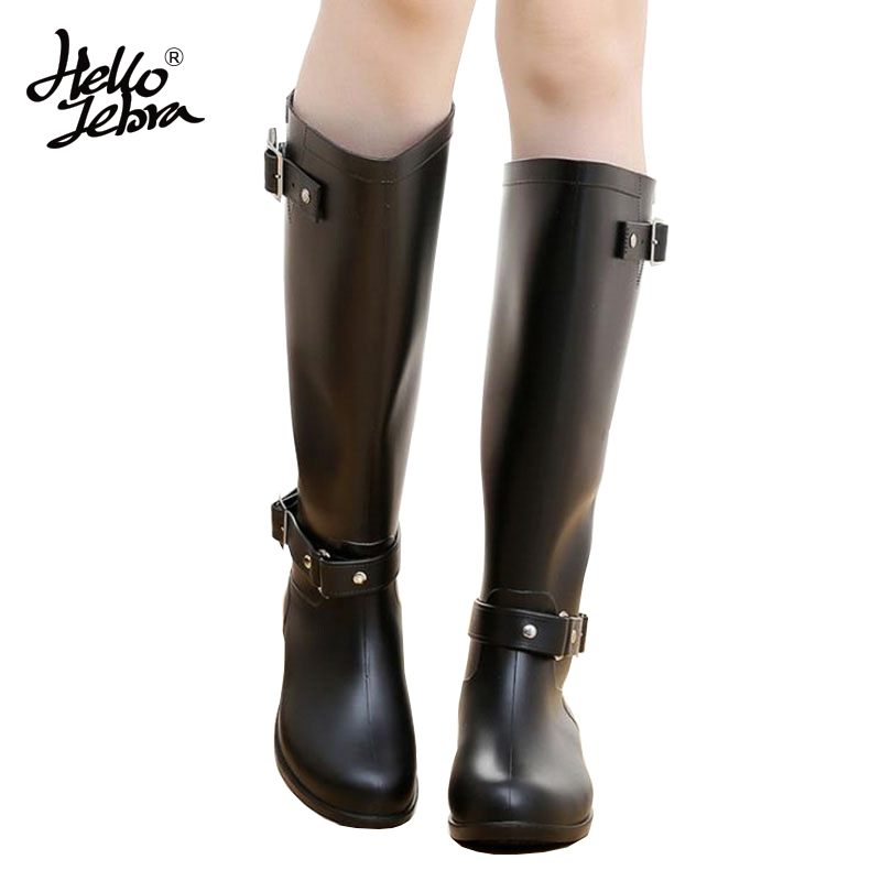Hellozebra Women Winter Rain Boots Lady Knee High With Zip Hoof Heels Round Toe Comfortable Solid Charm Waterproof Rainboots hellozebra women rain boots lady high shoes platform eva boots printing leather low heels waterproof buckle wearable appliques