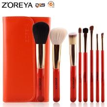 ZOREYA Brand 8 PCS Portable Cosmetics Makeup Tool Golden Al Ferrule Make Up Brushes pincel Free Shipping