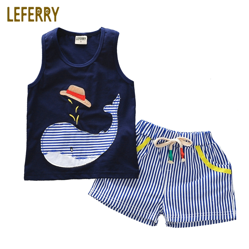 2018 Summer Baby Boys Clothing Sets Sleeveless T-shirt + Shorts Kids Boy Clothes Set Toddler Boys Clothing Set Cotton Vest sun moon kids boys t shirt summer