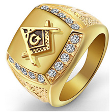 New Arrival Male Bling CZ Crystal Freemason Masonic Free Mason Signet Rings 316L Stainless Steel Gold Ring For Men