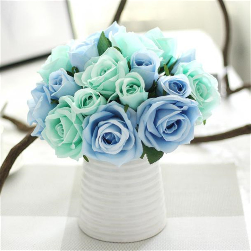 1 Bouquet 9 Heads Artificial Rose Bouquet Decorative Flowers Bride Bouquets for Wedding Home Party Decoration Wedding Supplies