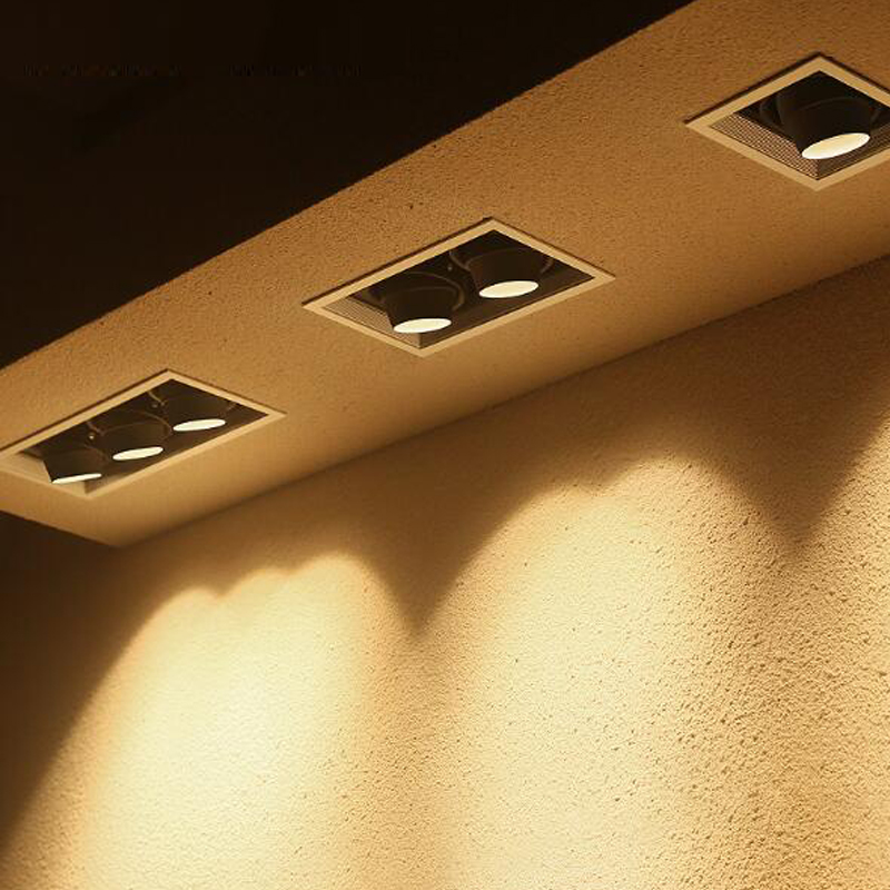 GU10 LED daring light embedded square ceiling lamp double head bean bum spotlight Adjustable angle grille