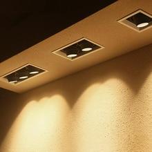 GU10 светодиодный светильник, подвесной квадратный потолочный светильник с двойной головкой, точечный светильник, регулируемый угол, решетка, Точечный светильник s