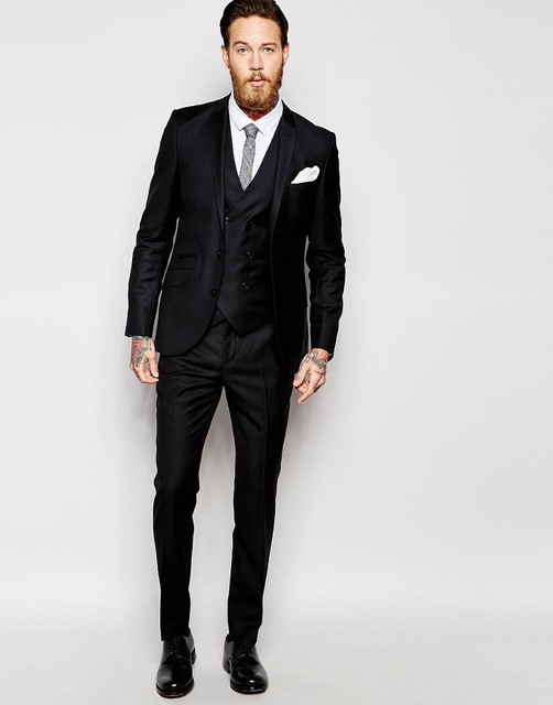2018 Tailored Made High Quality Groom Tuxedos Black Peak Lapel Two ...