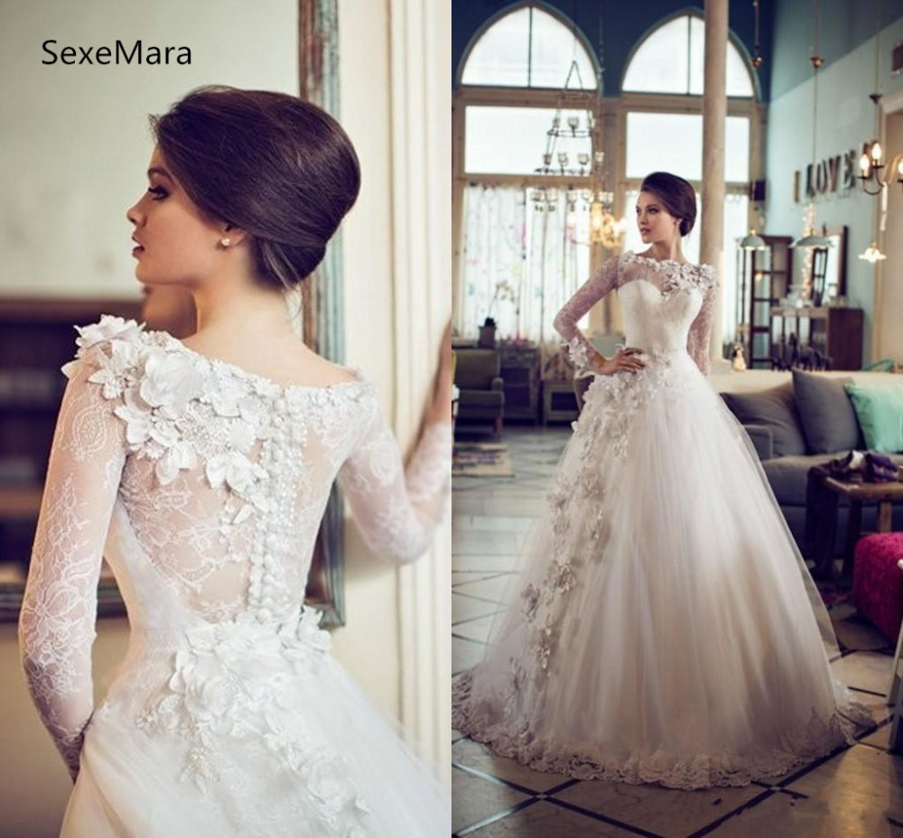 96d309de7740 Ivory White Lace Wedding Dresses Long Sleeves Floor Length vestido de noiva  Custom Made Bridal Gowns A Line Wedding Gown ~ Free Delivery July 2019
