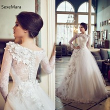 SexeMara Ivory Wedding Dresses Long Sleeves Floor Length
