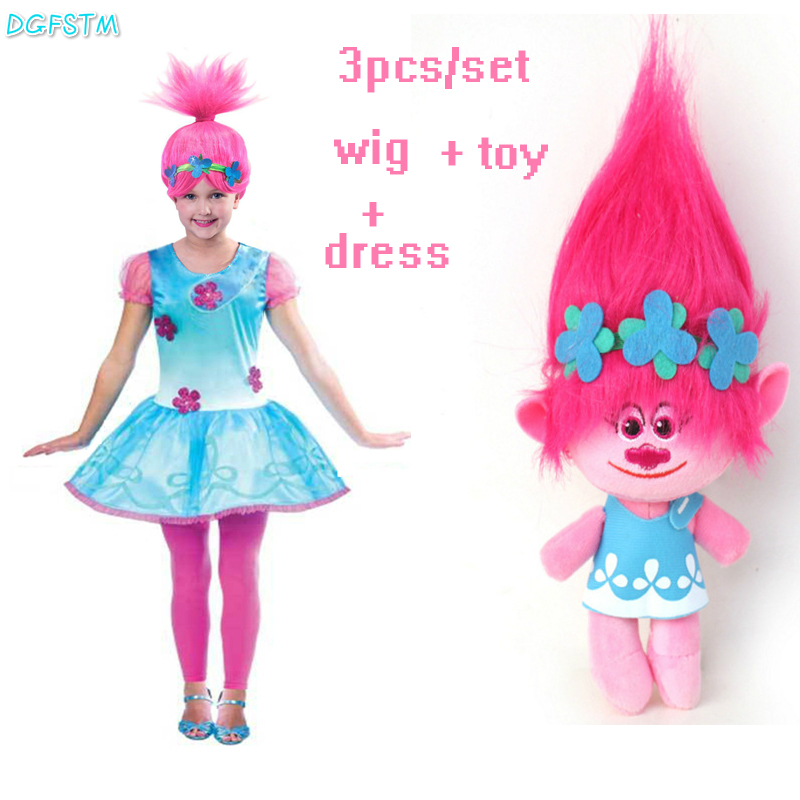 цена на 2017 New Cartoon Trolls Dress and wig and toy Summer Children Girls Sleeveless A-Line Dress  Girls Princess Dresses Vestido