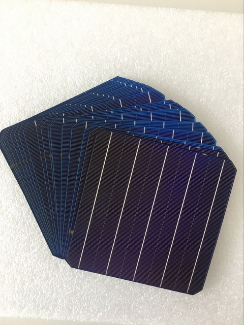 100Pcs 5W 0.5V 20.6% Effciency Grade A 156 * 156MM Photovoltaic Mono Monocrystalline Silicon Solar Cell 6x6 For Solar Panel