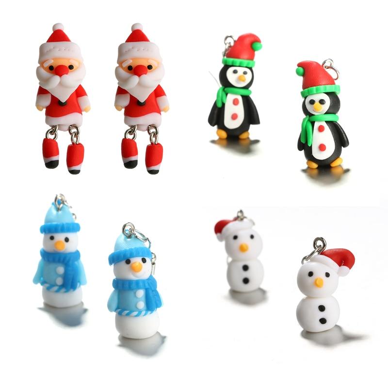 Polymer Clay Christmas Earrings.Us 1 22 35 Off Tocona Trendy Santa Claus Snowman 3d Cartoon Stud Earrings For Women Handmade Polymer Clay Christmas Character Earrings Jewelry In