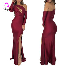 Burgundy Evening Maxi Dress with High Split Floor Length Elegant Woman cold Shoulder Special Occasion Formal Gowns 2019
