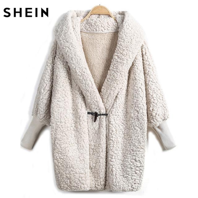 SHEIN Hooded Outwear Winter Newest Fashion Design Women's Apricot Batwing Long Sleeve Loose Streetwear Hooded Coat