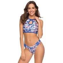 купить 2019 New Sexy Cut Out High Neck Bikini Bathing Suit Low Waist Swimsuit Brazilian Bikini Female Strappy Swimwear Women Beach Wear дешево