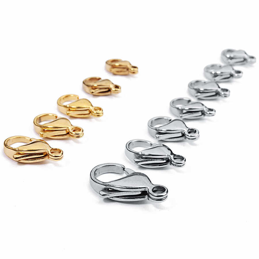 SAUVOO 25pcs Stainless Steel Lobster Clasps 9*6mm 10*6mm Gold Silver Color for Necklace Bracelet Connecter DIY Jewelry Findings