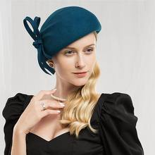 Fieltro de lana sombrero las mujeres sombreros mujer negro de cóctel Vintage  de boda de moda Derby Fedora a874f2bd8242
