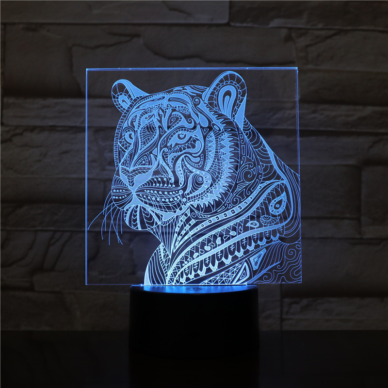 GX-2491 3D LED Night Lights Tiger with 7 Colors Light for Home Decoration Lamp Amazing Visualization Optical Illusion Gift