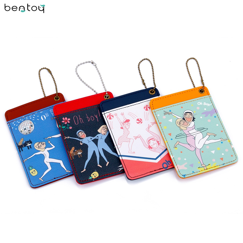 Bentoy Brand Freak Uncle Women Leather Purse Cute Bus Card & ID Holders Cartoon Print Bank Card Cover For Girls girls print purse