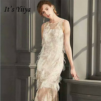 It's YiiYa Illusion O Neck Sleeveless Feathers Embroidery Lace Cocktail Gowns Bling Sequine A line Tea Length Formal Dress LX478