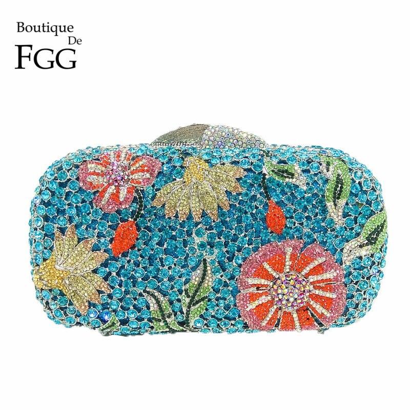 Boutique De FGG Blue Diamond Rhinestone Women s Floral Evening Bag Wedding Party Bridal Crystal Flower