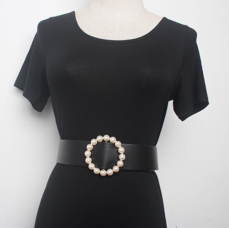 Women's Runway Fashion Pearl Buckle Pu Leather Cummerbunds Female Dress Corsets Waistband Belts Decoration Wide Belt R1555