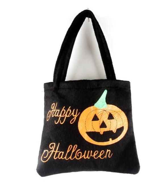 felt trick or treat bag halloween pumpkin spider reusable candy