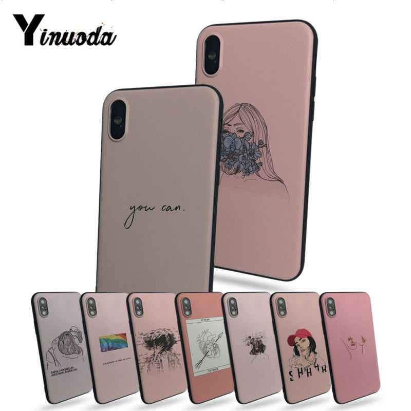 Yinuoda Set of pink background graffiti stick figure text personalized phone case For iphone X 8 8plus 5 5s 6s 6s Plus 7 7plus