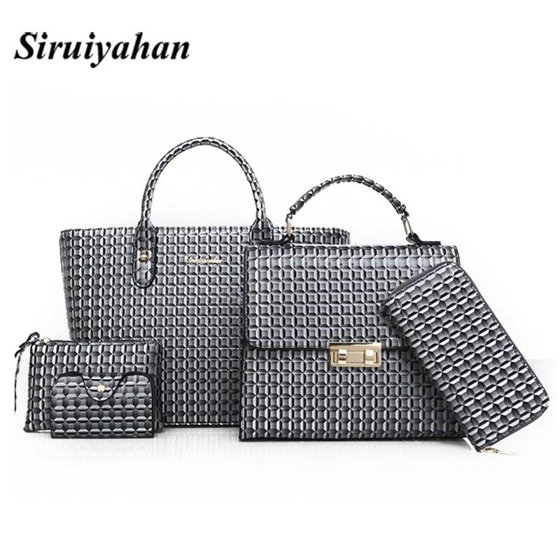 купить 6 Pcs/Set Women Leather Handbags 2018 Fashion Designer Female Shoulder Bags Composite Bag Casual Crossbody Messenger Tote Bags 3 онлайн