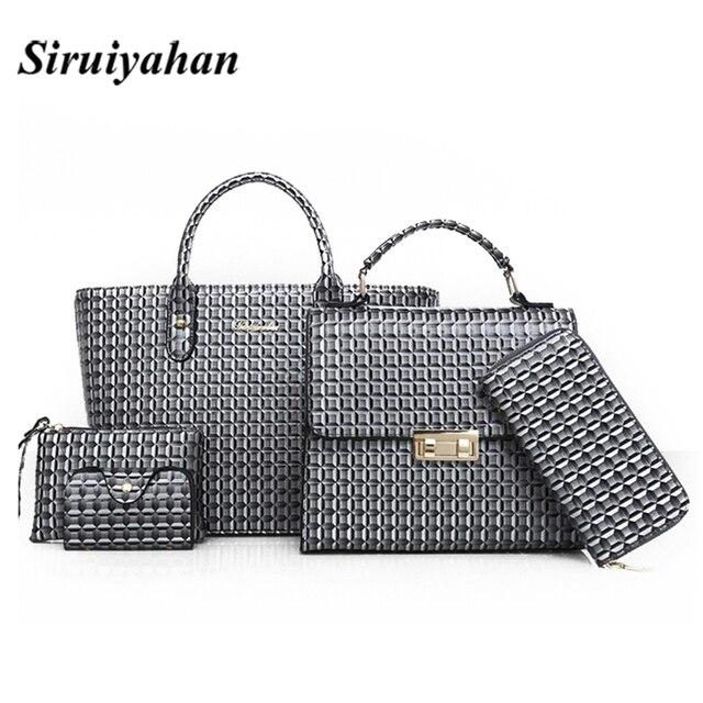 6afeae6a3d37 6 Pcs Set Women Leather Handbags 2018 Fashion Designer Female Shoulder Bags  Composite Bag Casual Crossbody Messenger Tote Bags 3
