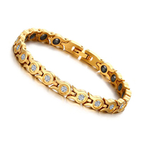 Brand Design Fashion Health Energy Bracelet Bangle 316L Stainless Steel Magnetic Bracelets For Women With Cubic
