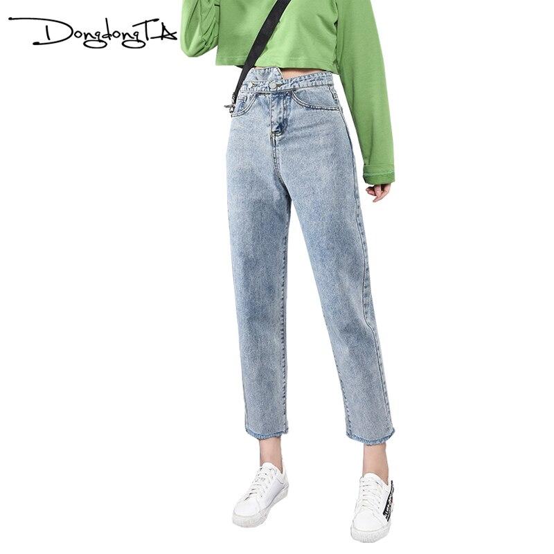 Femme Jeans DONGDONGTA 2019 été nouveau Jeans pour femmes taille haute cheville longueur Jeans Femme Denim solide bleu Jeans HMF-53-7702