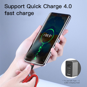 Baseus USB Type C to Type C Cable for Redmi Note 8 Pro Quick Charge 4.0 100W Fast Charge Type-C Cable for Samsung S10 USB-C Wire