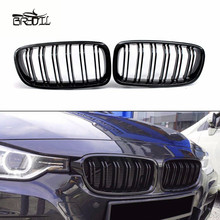 1 Pair Gloss Black ABS Front Replacement Kidney Grille Grill For F30 F35 2012-2016