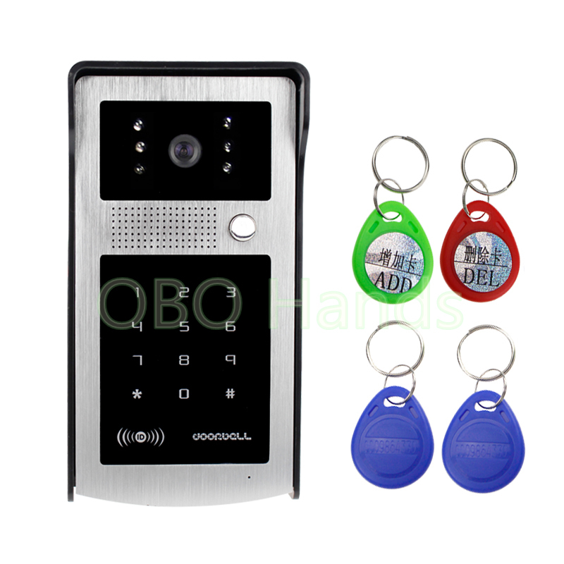 RFID Intercom System Entrance Machine Color Video Phone/DoorBell With Digital Touch Keypad Outdoor CMOS IR Night Vision Camera