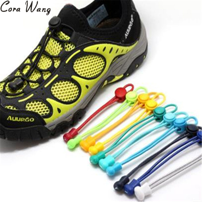 Cora Wang 1Pair Multi-color Locking shoe laces sneaker elastic Children safe elastic for running solid lock aces cordonesBSL666B