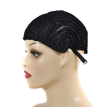 Black Cap Wig For Making Braid Synthetic lace wig dome cap false hair With Clips And Strong Elastic Band gorra malla hairnet #79 maschera di ghiaccio per viso