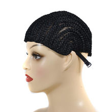 Black Cap Wig For Making Braid Synthetic lace wig dome cap false hair With Clips And Strong Elastic Band gorra malla hairnet #79(China)