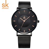 Shengke Hot Fashion Black Women Watches 2017 High Quality Ultra Thin Quartz Watch Woman Elegant Dress