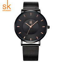 Shengke Hot Fashion Black Women Watches 2017 High Quality Ultra Thin Quartz Watch Woman Elegant Dress