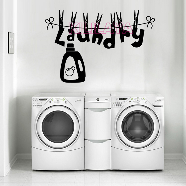 Stickers Clothesline Laundry Room Vinyl Wall Sticker Mural Decals Removable Art Wallpaper Home Decor House Decoration