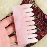 Grande taille 110x60mm naturel Rose Quartz cristal peigne dernière tendance dans les soins des cheveux tête cheveux Massage Guasha outil